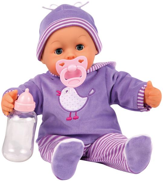 bayer-design-funktionspuppe-first-words-baby-vogel-lila-kinderspielzeug-
