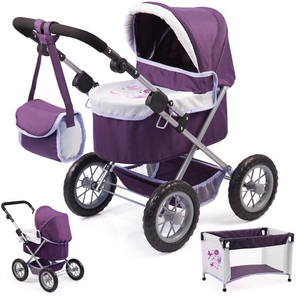 bayer-design-mein-erster-puppenwagen-trendy-mit-reisebett-lila-hellgrau-kinderspielzeug-