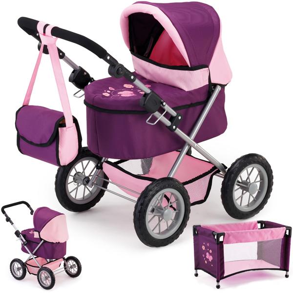 bayer-design-mein-erster-puppenwagen-trendy-mit-reisebett-pflaume-kinderspielzeug-