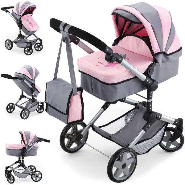 bayer-design-puppenwagen-neo-pro-2in1-rosa-grau-kinderspielzeug-
