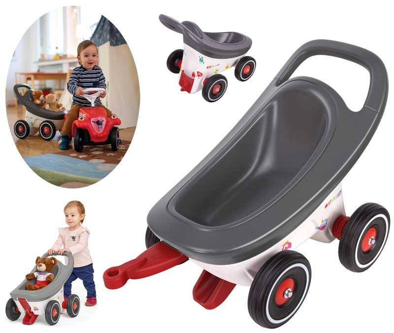 BIG Buggy 3in1 Lauflernwagen, Buggy und Anhänger für Bobby Car (Grau) [Kinderspielzeug]