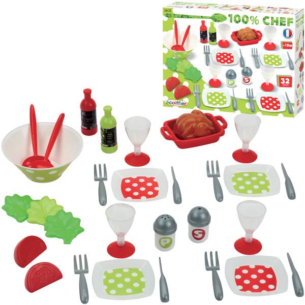 Ecoiffier 32 teiliges Dinner Set Geschirr für Kinderküche