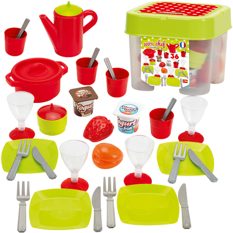 Ecoiffier Box mit Geschirr für Kinderküche bei Spielzeug24