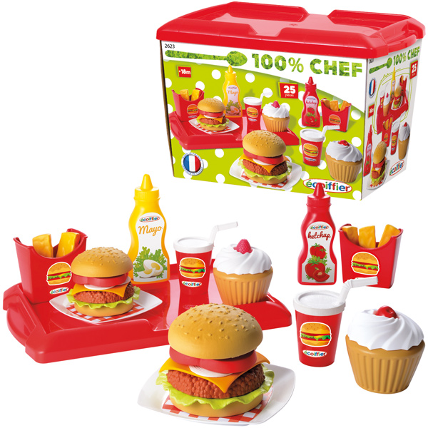 ecoiffier hamburger set zubeh r kinderk che spiellebensmittel essen spielzeug 3280250026235 ebay. Black Bedroom Furniture Sets. Home Design Ideas