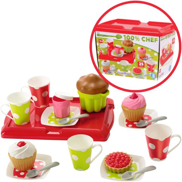 Ecoiffier Kaffee & Kuchenbox mit Tablett Puppengeschirr