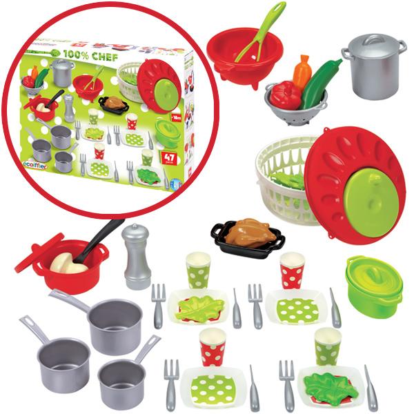Küchen zubehör kinder  Ecoiffier 47-teiliges Küchenzubehör Töpfe Geschirr Spielzeug ...