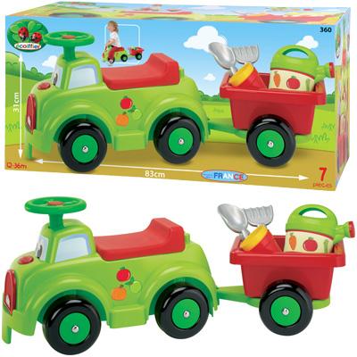 Ecoiffier Moderner Rutscher mit Anhänger und Gartenzubehör [Kinderspielzeug]