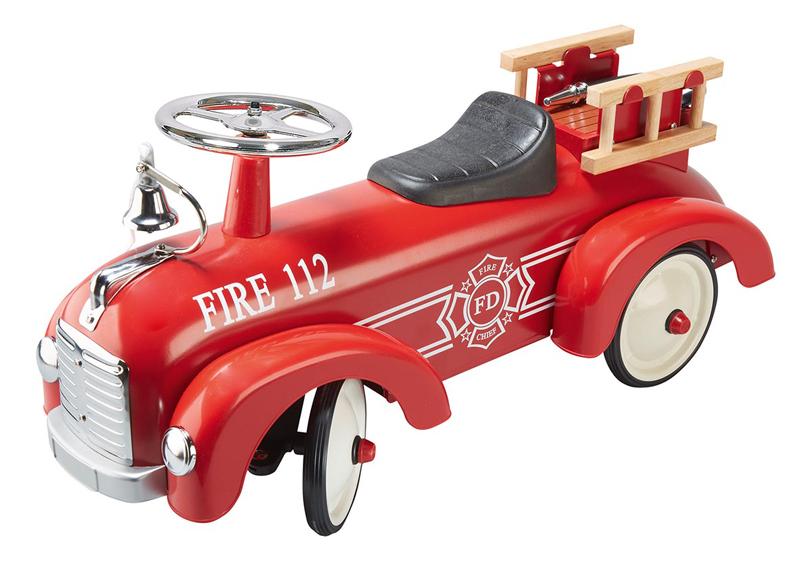 Goki Rutscherauto Feuerwehr aus Metall (Rot) [Kinderspielzeug]