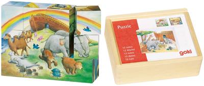 Würfelpuzzle im Holzkasten Arche Noah [Kinderspielzeug]