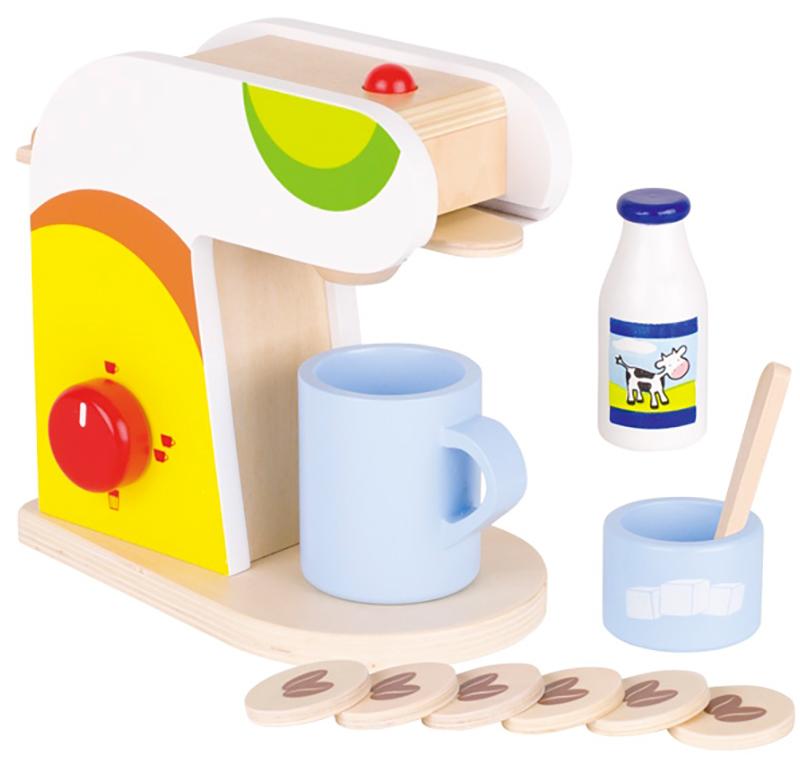 goki kaffeemaschine mit zubeh r aus holz bunt ebay. Black Bedroom Furniture Sets. Home Design Ideas