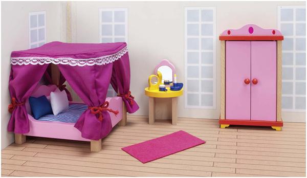 Goki Puppenhausmöbel Schloss Schlafzimmer [Kinderspielzeug] - Preisvergleich