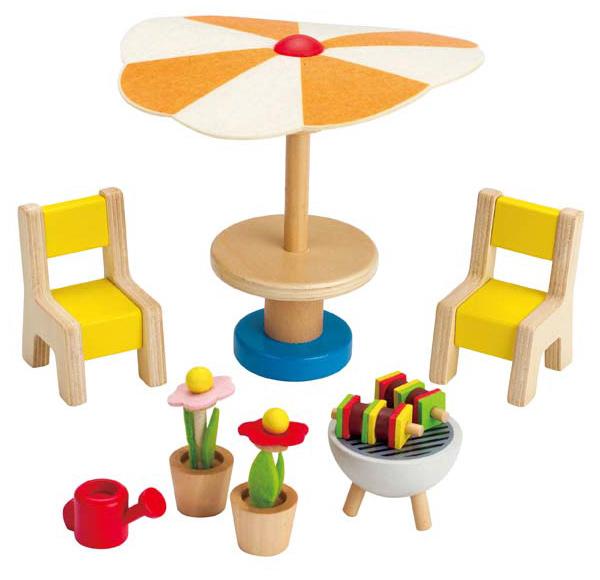 hape puppenhaus gartenm bel mit grill bei spielzeug24. Black Bedroom Furniture Sets. Home Design Ideas