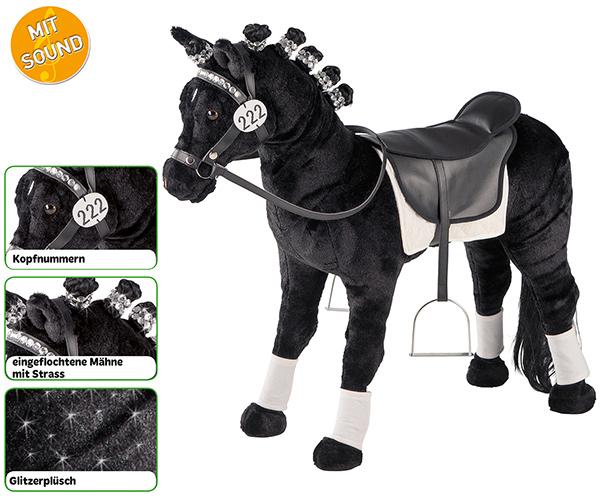 happy people standpferd dressurpferd mit sound schwarz bei spielzeug24. Black Bedroom Furniture Sets. Home Design Ideas