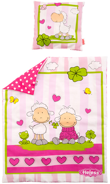 Heless Puppenbettzeug Glücksschäfchen Meble Pink