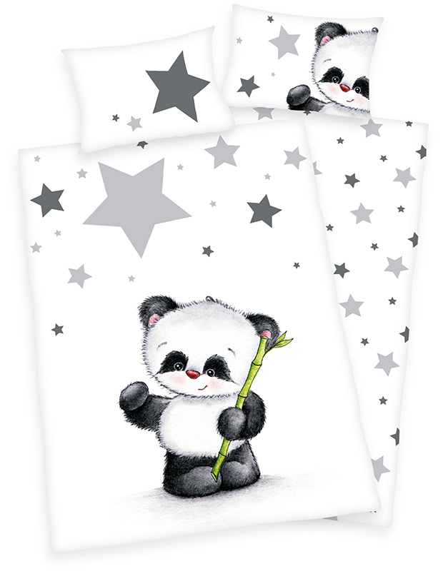 herding renforce kinder bettw sche jana panda 100 x 135 cm wei schwarz bei. Black Bedroom Furniture Sets. Home Design Ideas