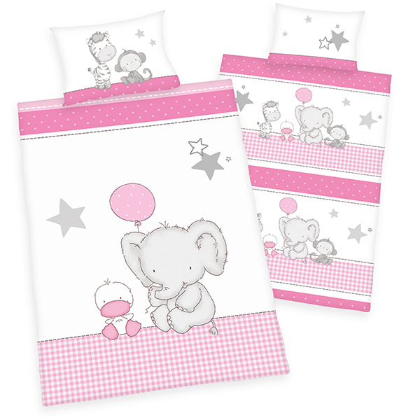 herding renforce kinder bettw sche jana elefant 100 x 135 cm wei pink bei. Black Bedroom Furniture Sets. Home Design Ideas