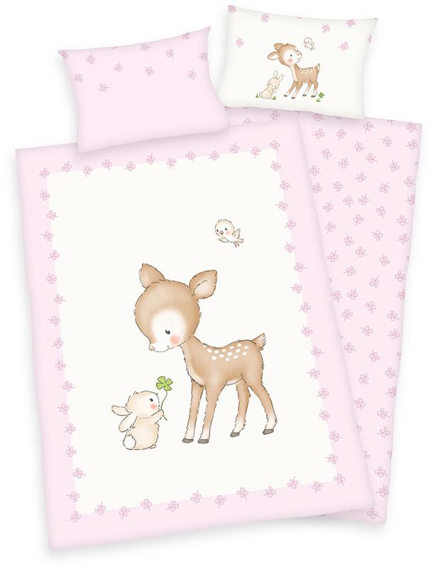 herding renforce kinder bettw sche jana reh 100 x 135 cm rosa beige bei. Black Bedroom Furniture Sets. Home Design Ideas