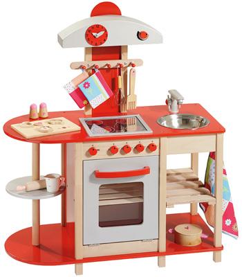 Howa Spielküche aus Holz mit Ceranfeld Rot Silber
