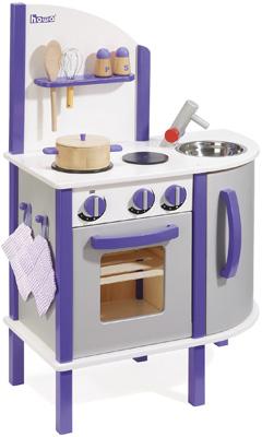 Howa Spielküche aus Holz Lila Weiß Silber [Kinderspielzeug]