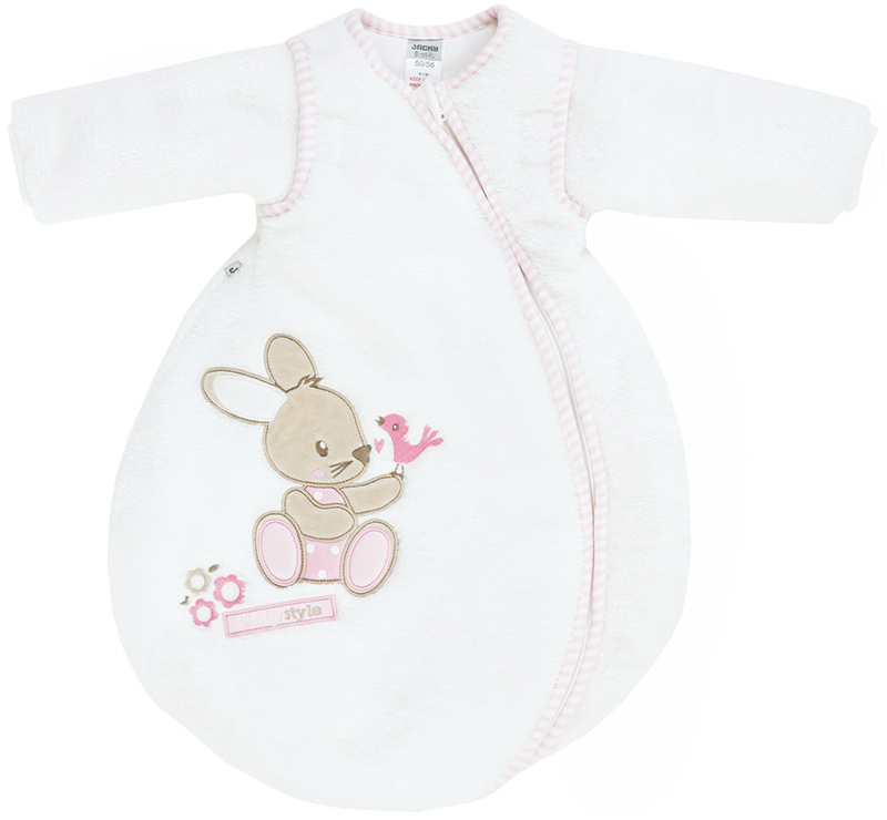 jacky nicki winterschlafsack bunny gr 50 56 mit abnehmbaren rmeln wei rosa bei. Black Bedroom Furniture Sets. Home Design Ideas