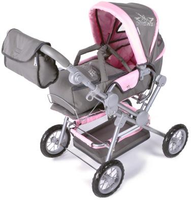 knorrtoys-puppenwagen-twingo-rockstar-mit-strasssteinchen-rosa-grau-kinderspielzeug-