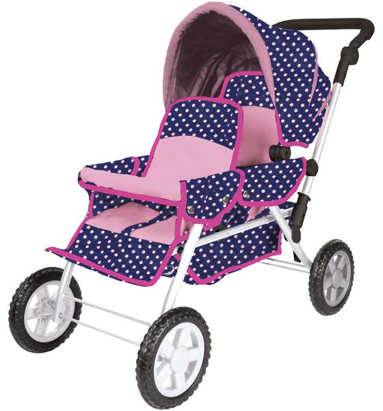 Geschwisterwagen Big Twin für Puppen (Ocean Pink Dots) [Kinderspielzeug]
