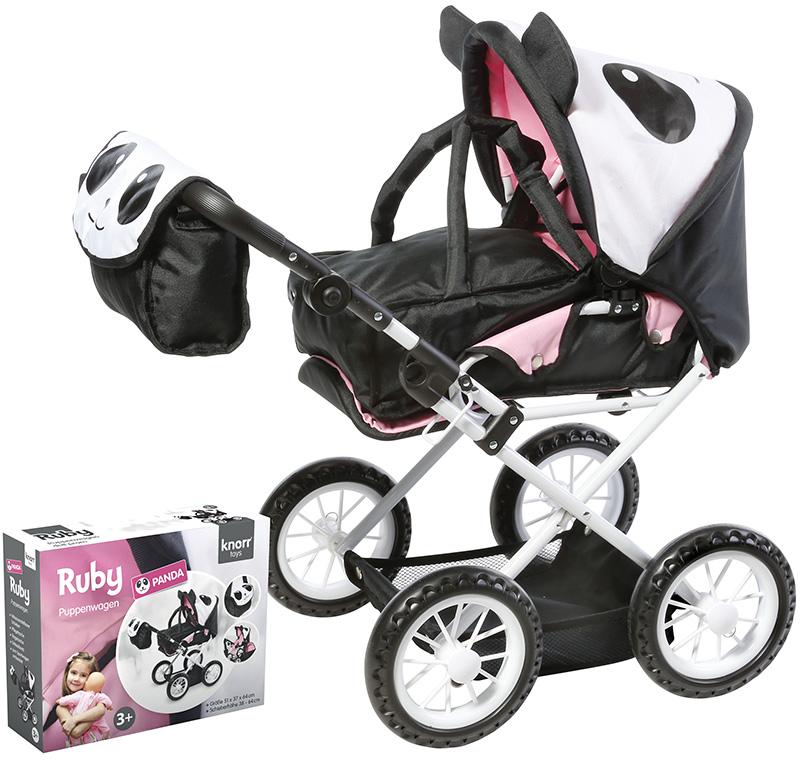 knorrtoys-puppenwagen-ruby-panda-schwarz-wei-kinderspielzeug-