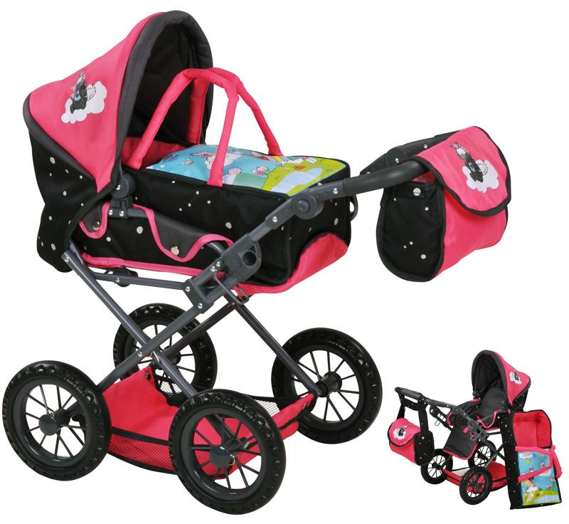 knorrtoys-puppenwagen-ruby-einhorn-nici-theodor-carbon-pink-schwarz-kinderspielzeug-