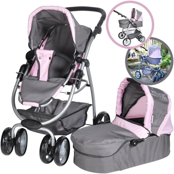 knorrtoys-puppenwagen-coco-2in1-rockstar-grau-rosa-kinderspielzeug-