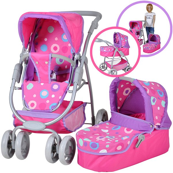 knorrtoys-puppenwagen-coco-2in1-pink-splash-kinderspielzeug-
