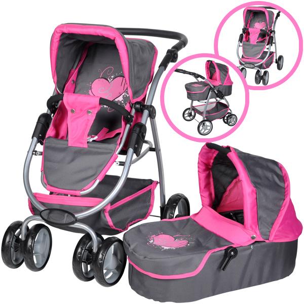 knorrtoys-puppenwagen-coco-2in1-graffiti-grau-pink-kinderspielzeug-