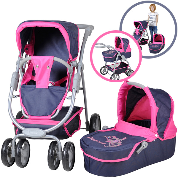knorrtoys puppenwagen coco 2in1 diadem blau pink bei. Black Bedroom Furniture Sets. Home Design Ideas