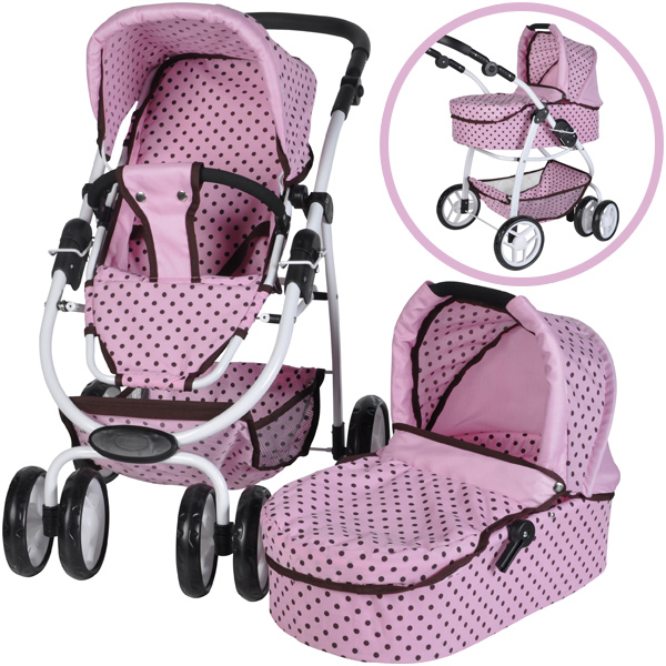 knorrtoys puppenwagen coco 2in1 pink mokka dots bei. Black Bedroom Furniture Sets. Home Design Ideas