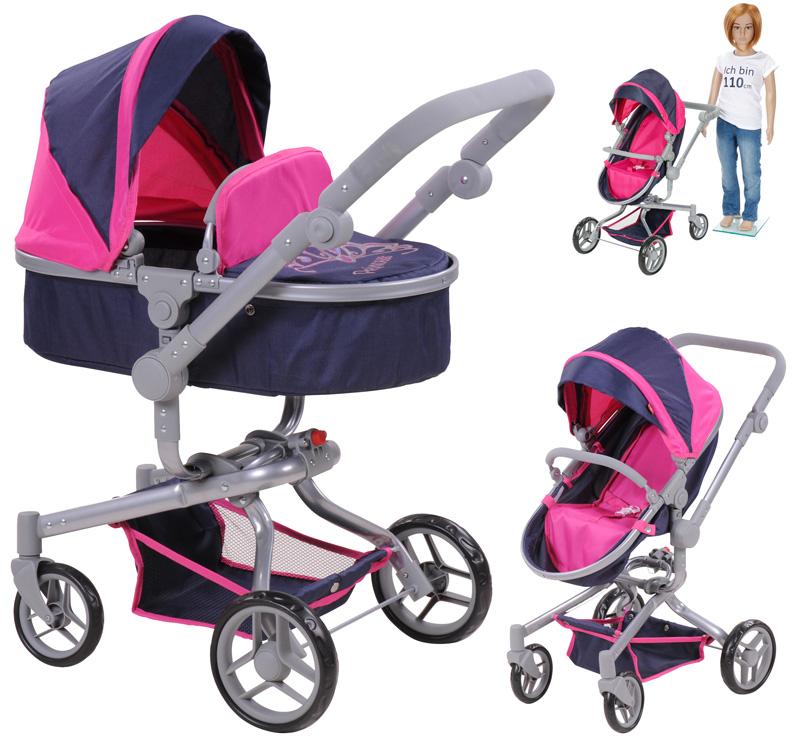 Knorrtoys Puppenwagen Coco 2in1 Puppen & Zubehör Ocean Pink Dots Babypuppen & Zubehör