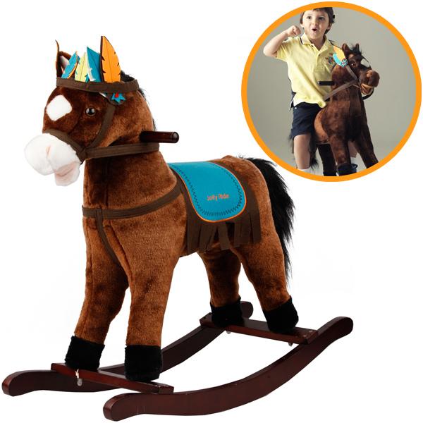 knorrtoys schaukelpferd sioux mit sound braun blau pferd. Black Bedroom Furniture Sets. Home Design Ideas