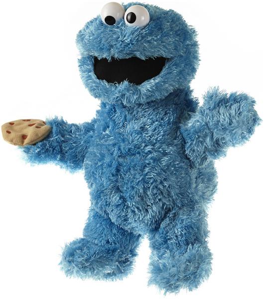 Sesamstrasse Plüschfigur & Handpuppe Krümelmonster 35 cm (Blau) [Kinderspielzeug]
