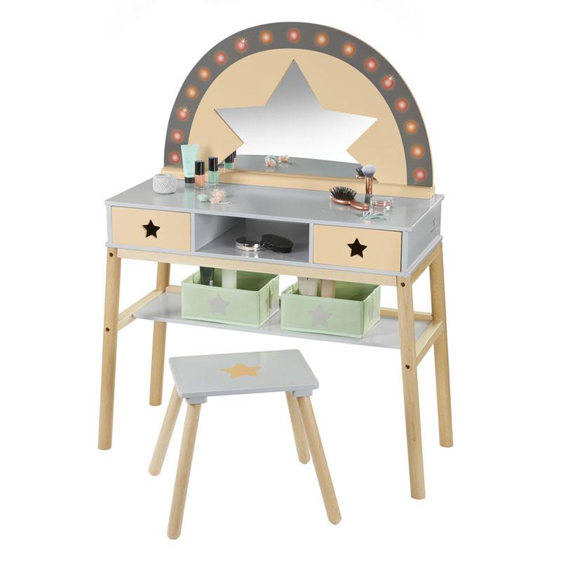 alle bewertungen zu schminktisch malva aus holz apricot grau bei spielzeug24. Black Bedroom Furniture Sets. Home Design Ideas