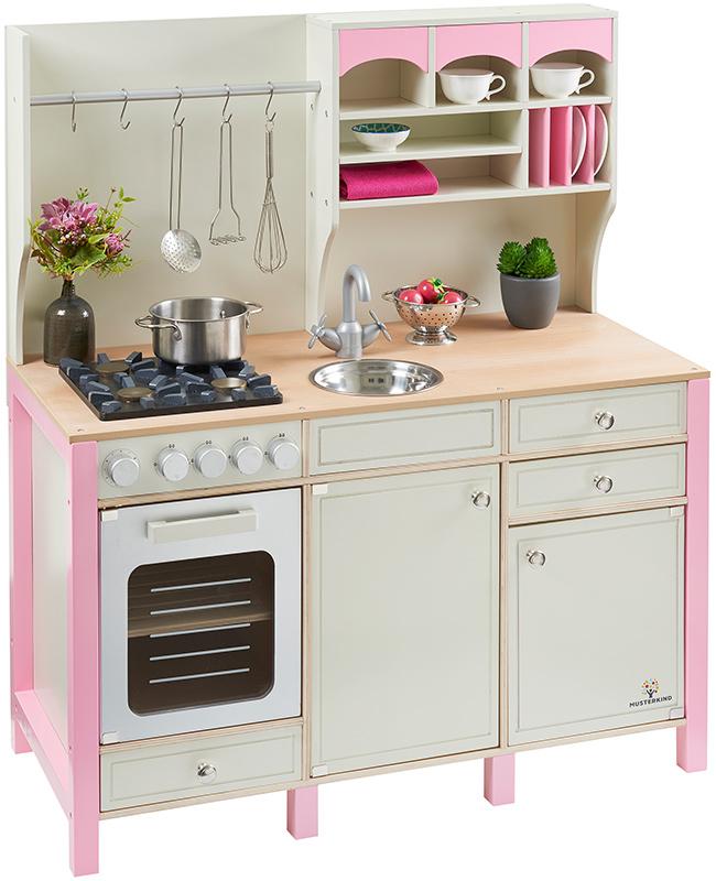 Musterkind Große Spielküche Salvia aus Holz im Landhausstil (Creme-Rosa) bei Spielzeug24