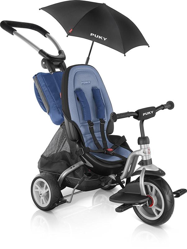 Puky Dreirad CAT S6 Ceety mit Sonnenschirm (Silber Blau) [Kinderspielzeug]