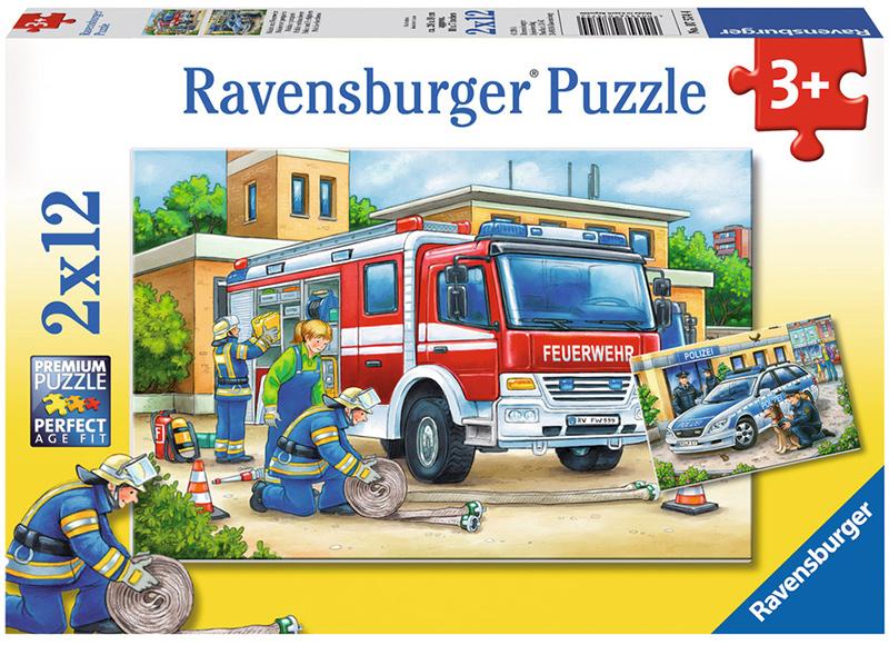 ravensburger kinderpuzzle polizei und feuerwehr ab 3 jahren bei. Black Bedroom Furniture Sets. Home Design Ideas
