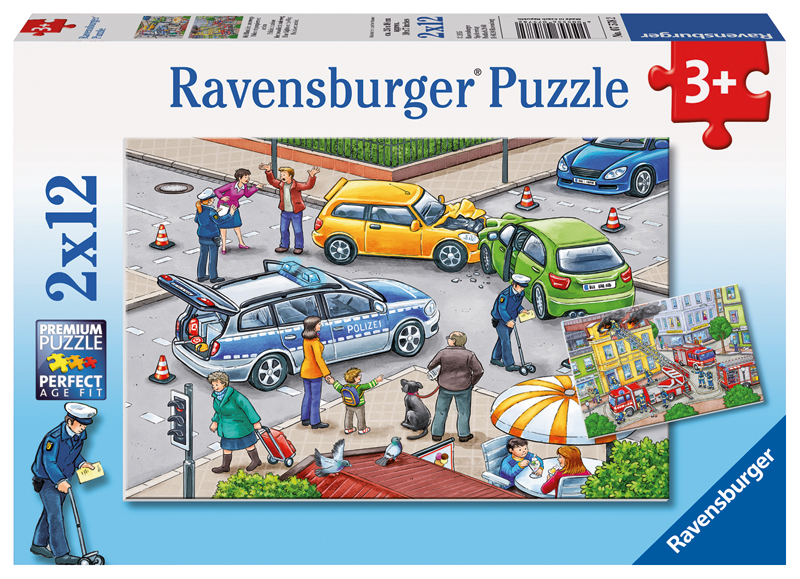 ravensburger kinderpuzzle mit blaulicht unterwegs ab 3 jahren bei. Black Bedroom Furniture Sets. Home Design Ideas