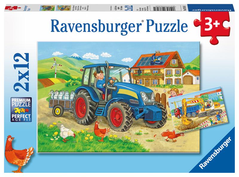 ravensburger kinderpuzzle baustelle und bauernhof ab 3 jahren bei spielzeug24. Black Bedroom Furniture Sets. Home Design Ideas