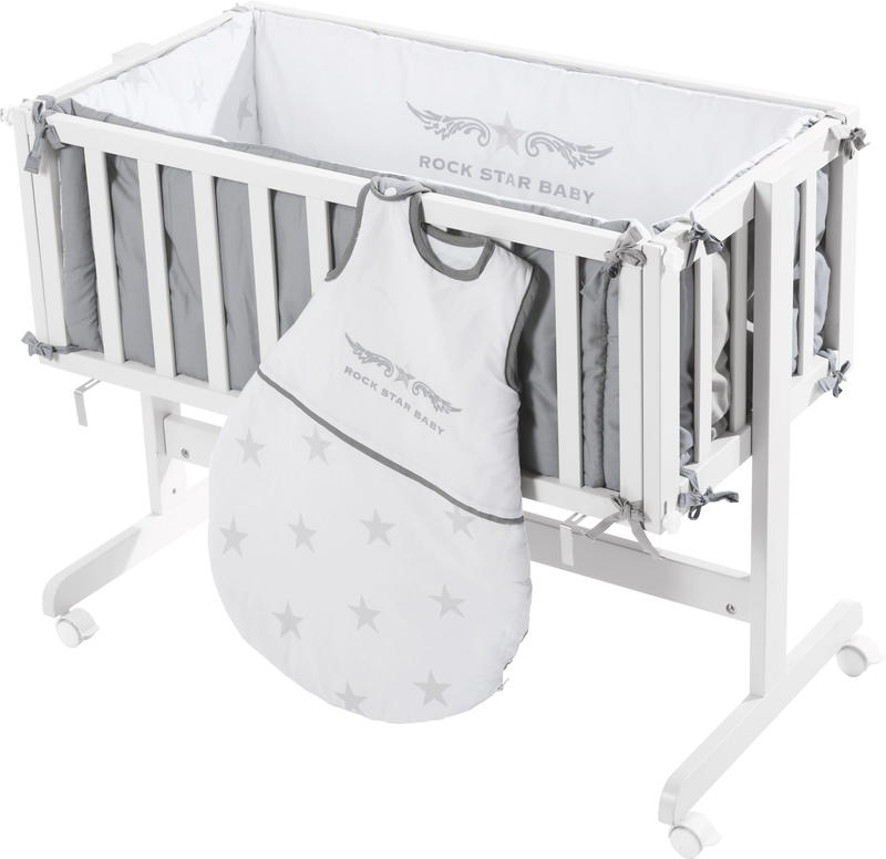 roba beistellbett rockstar baby 2 wei grau bei spielzeug24. Black Bedroom Furniture Sets. Home Design Ideas