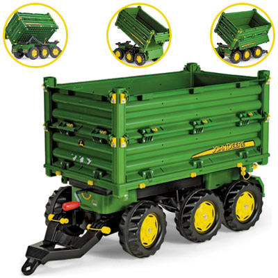 Rolly Toys RollyTrailer John Deere Anhänger Multi 3 achsig (Grün) [Kinderspielzeug]