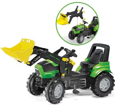 Rolly Toys RollyFarmtrac Premium Deutz Fahr Agrotron Traktor mit Frontlader (Grün) [Kinderspielzeug]