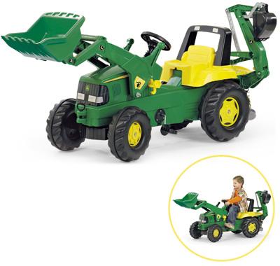 Rolly Toys RollyJunior John Deere Traktor mit Frontlader und Heckbagger (Grün) [Kinderspielzeug]