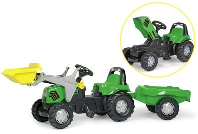 Rolly Toys RollyKid Deutz Fahr Traktor mit Lader und Anhänger (Grün) [Kinderspielzeug]