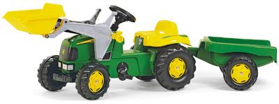 Rolly Toys RollyKid John Deere Traktor mit Lader und Anhänger (Grün) [Kinderspielzeug]