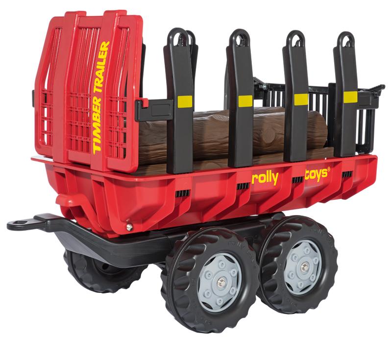 Rolly Toys RollyTrailer Anhänger Timber mit Baumstämmen (Rot) [Kinderspielzeug]