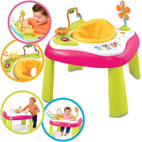smoby cotoons 2 in 1 baby activity tisch mit licht und sound pink ebay. Black Bedroom Furniture Sets. Home Design Ideas